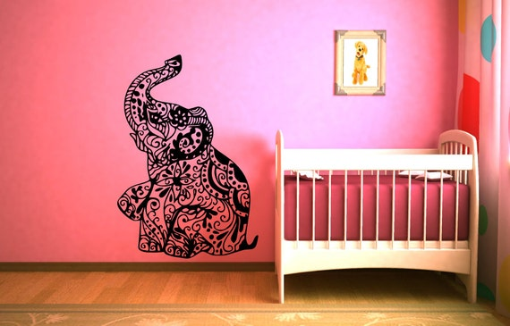 L phant murale indienne motif floral design decal vinyl for Decalque mural