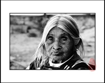 Old Woman Portrait Wall Art, Black and White Portrait Photography Download, Print, Mexican Photograph Print, Black and White Woman Portrait,