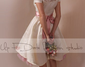 Bridesmaid   ivory  taffeta   /party /prom /graduation/ dress
