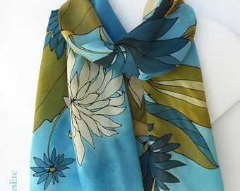 Hand painted silk scarf, blue brown scarf, abstract design - Brown gold blue scarf, beige flowers - Artist silk scarf floral - Gift for her