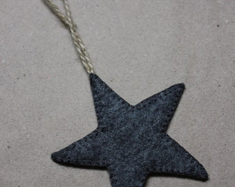 Grey Merino Felt Christmas Star Decoration
