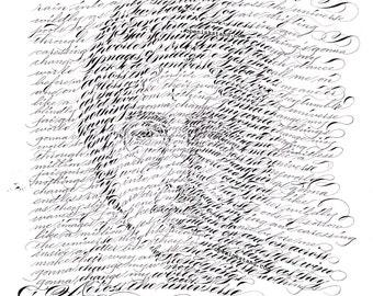 John Lennon ORIGINAL Artwork calligraphy beatles across the universe