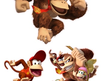 Donky Kong and Diddy Kong Removable Wall Decal Stickers Set of 3