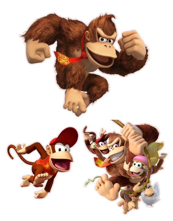 Donky Kong and Diddy Kong Removable Wall Decal Stickers Set of