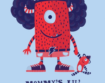 Mommy's Lil Monster - Boy Monster Art Print - Boys Room Decor - Art for Kids