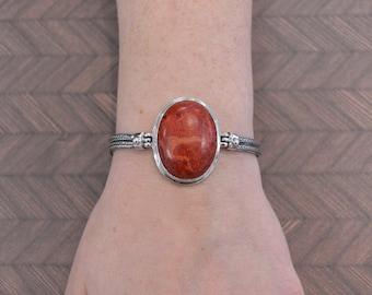 Large Oval Red Sponge Coral Bracelet