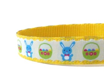 Happy Easter in Yellow dog collar/ Spring dog collar/ ribbon dog collar/ adjustable dog collar