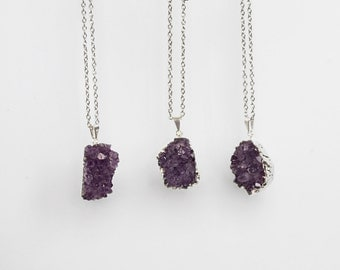 Amethyst Necklace / silver plated amethyst druzy cluster / 0686