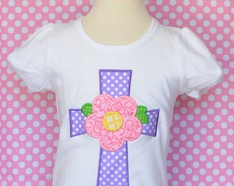 Personalized Cross with Flower Applique Shirt or Onesie Girl or Boy