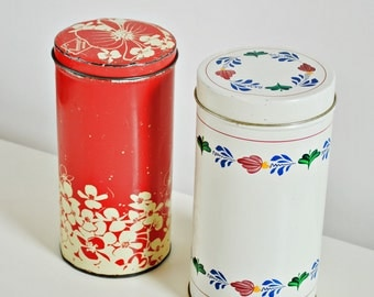 "Set of 2 Large Tin Cannisters -  Rusks Canister ""Hooimeijer"" Holland Biscuits Box  and Traditional Theme Boerenbont Storage Container"