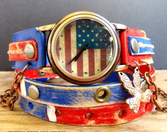 US Flag Leather Wrap Watch, Womens leather watch, Bracelet Watch, Wrist Watch with chain, women's leather cuff. leather watch band
