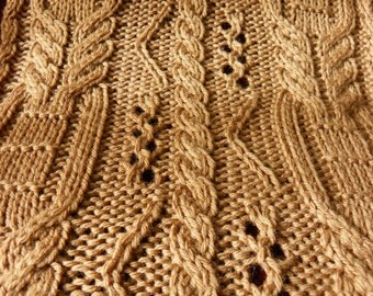 "Pattern to Knit  ""Copious Cables"" Scarf DK Weight yarn  PDF"