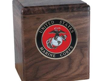 Walnut Freedom Military Wood Cremation Urn