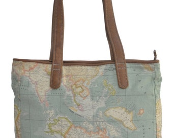 The Wanderlust Tote - Genuine Leather and World Map Atlas Print Fabric.