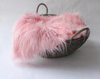 SaLE....Pink MOngolian Faux Fur Prop, Newborn Photo Prop, Bakset Filler, Posing Fabric, READY TO SHIP.