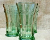 Libbey Coca-Cola Fountain Glasses -set of 4 // Green Coke glasses // Vintage Coca- Cola glasses