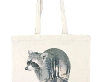 Raccoon Tote Bag - Faunascapes by WhatWeDo