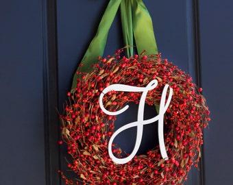 Thanksgiving Berry Wreath - Monogram Thanksgiving Wreath - Monogram Wreath - Fall Wreath - Rustic Fall Wreath - Orange Berry Wreath