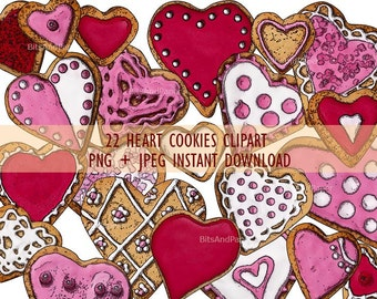 Valentines clipart, heart cookies clipart instant download,hearts clipart, Valentine's Day illustration,heart stickers, valentines scrapbook