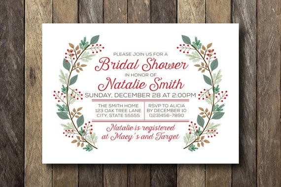 Planning a winter wedding inn 2 weddings christmas bridal shower invitation winter wedding shower printable invitation christmas bridal shower filmwisefo