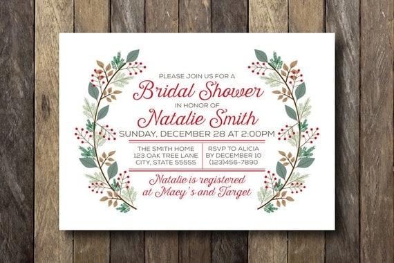 Christmas Bridal Shower Invitation - Winter Wedding Shower - Printable Invitation - Christmas Bridal Shower - Winter Bridal Shower