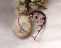 Red heart brooch Wire wrapped brooch pin  scarf pin Romantic jewelry  red brooch sweater brooch