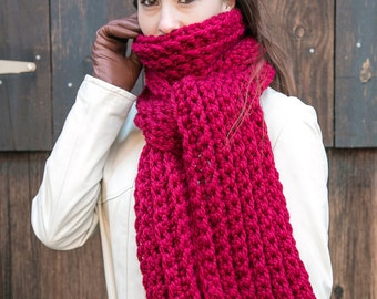 Red Wool Scarf // Chunky Knit Scarf // Holiday Gifts // THE JULES shown in Cranberry