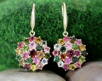 Multicolor Tourmaline Cluster Dangle <Prong> Solid 14K Yellow Gold (14KY) Colored Stone Earrings *Fine Jewelry* (Free Shipping)