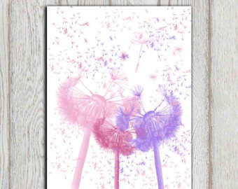 Pink purple white bedroom print Dandelion nursery printable Little girl wall art Flower printable wall decor 5x7 8x10 11x14 INSTANT DOWNLOAD