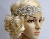 Crystal Pearls Rhinestone, flapper Gatsby Headband, Wedding Headband Headpiece, Halo Bridal Headpiece, 1920s Flapper headband