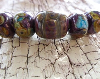 HandMade Lampwork -:- Geology Naturals  -Set of 5 Beads - Artisan Made in the USA - Fully Kiln Annealed -