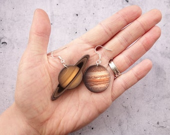 Planets Jupiter and Saturn Solar system Earrings, Planets Earrings, Outer Space Earrings, Galaxy Earrings in shrink plastic