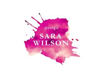 Watercolor logo | Premade logo | Custom logo | Branding company | Drop logo design | purple color