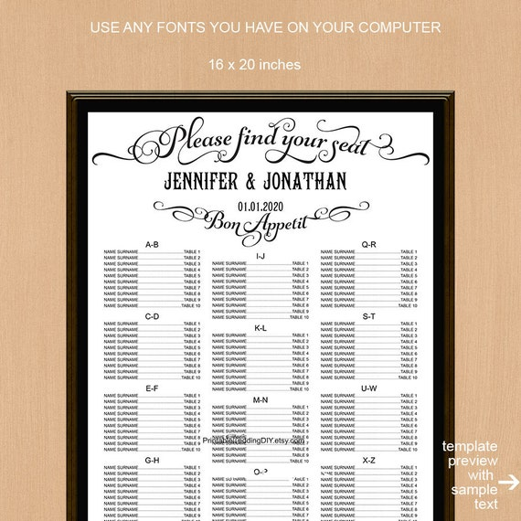 find your seat sign wedding seating chart by myprintablepaperie. Black Bedroom Furniture Sets. Home Design Ideas