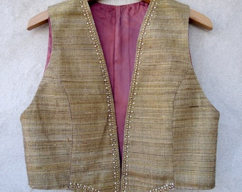 Woman silk waistcoat, silk vest, gold silk waistcoat, gold waistcoat, gold silk, Vintage clothing, Christmas gifts, gifts for her