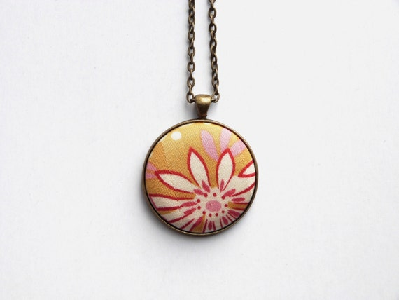 Mustard yellow floral necklace fabric button by for Mustard colored costume jewelry