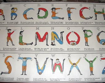 Vintage Art Printers Roll, Rare, Comical Hotch Potch Alphabet, Letters, Typography, Childrens Decor