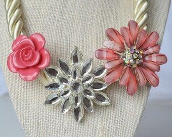 Rose Garden Statement Necklace, handmade, floral, spring