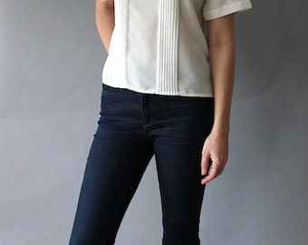 Vintage Simple White Blouse
