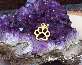 Paw Print Charm, Paw Print Pendant, Paw Print Cut Out Charm, Animal Lover Charm, Dog Lover, 24K Gold, PG0138
