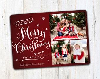 Christmas Card template, Photo Christmas Card, Red Christmas Card, Holiday Card,  Printable