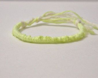 Adjustable Neon Light Yellow Friendship Bracelet