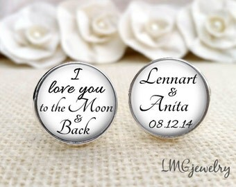 Groom Cufflink, Custom Wedding Cufflink, I Love You to the Moon, Cufflinks for Groom, Wedding Cufflinks