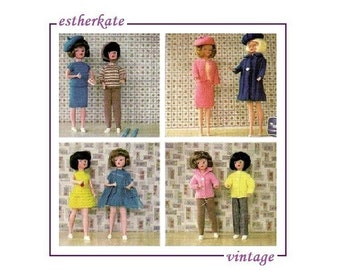 VINTAGE knitting pattern pdf, Sindy doll clothes skirts dresses and trousers, INSTANT DOWNLOAD