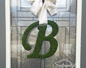 "Moss Letter 12"",Script Font Letter,Front Door Moss Initial Wreath,Church Door Letter,Rustic Wedding,Barn Wedding Decoration,Moss Monogram"