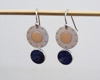 Blue stone earrings , Sodalite earrings , Disc earrings , Gemstone Earrings , mixed metal earrings , xmas gifts