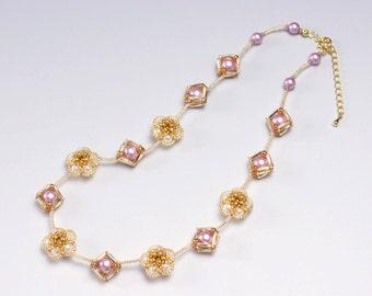 Flower necklace pink, swarovski pearl necklace pink, square necklace, mothers day, necklace for her, 384-1