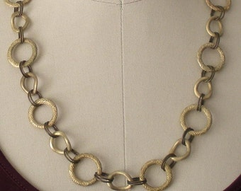 Gold link two-tone necklace