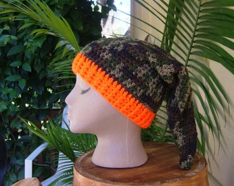 Slouchy Camo Beanie Elf Hat, Child to Teen Camouflage and Orange Beanie