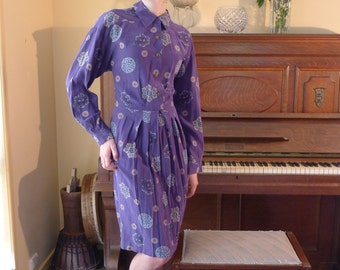 Art Nouveau Royal Purple Silk Dress with Goddess Symbols Original 1970's vintage Liz Claiborne designer elegant dress